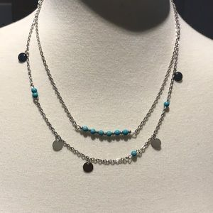 Silver and Turquoise layered necklace